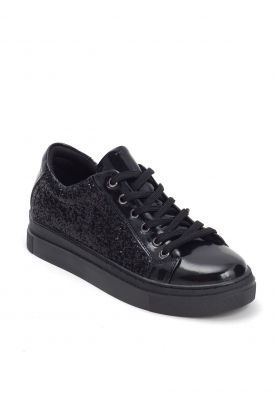 Siyah Simli Rugan Detaylı Siyah Taban Bayan Spor Ayakkabı ÜRÜN KODU : EB-BUS7683564 FİYAT:78,84 TL