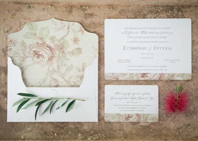 Floral print wedding invitations | Adrian Wood Photography  | see more on:  http://burnettsboards.com/2014/07/fashionable-bridal-editorial-greece/