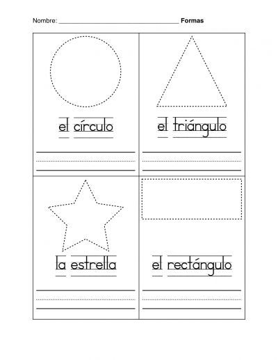 Printable Preschool Shape Worksheets For Spanish | Coloring Pages