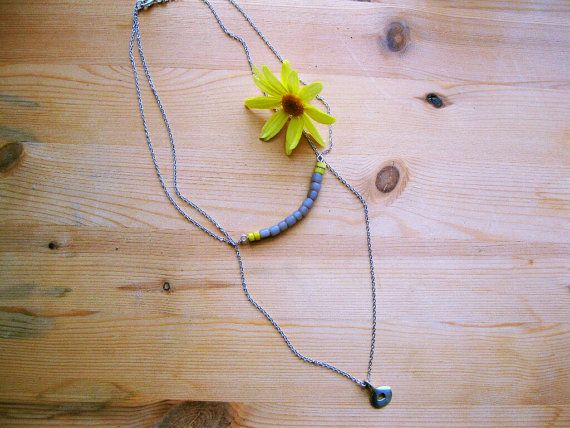 layered grey yellow beaded bar, disc pendant silver necklace by Planeteer,