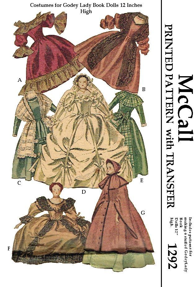 McCalls 1292, patterns for godey lady dolls, stunning, i can't even start to tell how gorgeous these dresses are. For a 12 inch doll as well it comes with the stuffed dolls to make. Reproduced pattern.