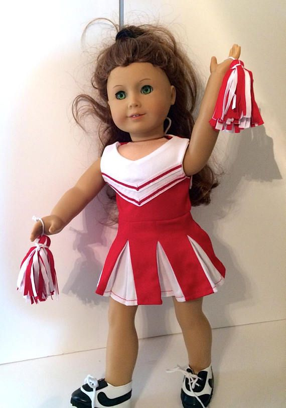Blue /& White Cheer Leader with Pom Poms fits 18 inch American Girl Doll Clothes
