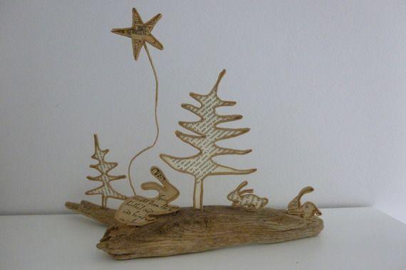 Lapins de Noël - figurines en ficelle et papier