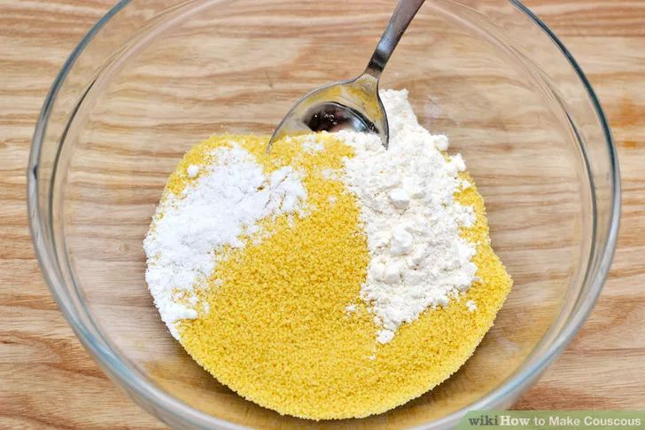 Making Couscous from Scratch || 1 stick cinnamon, 1 bay leaf 1 kilogram (6 cups) of wheat semolina, 1 teaspoon of salt 1 1/2 of a tablespoon of flour 250 milliliters (1 cup) of vegetable oil