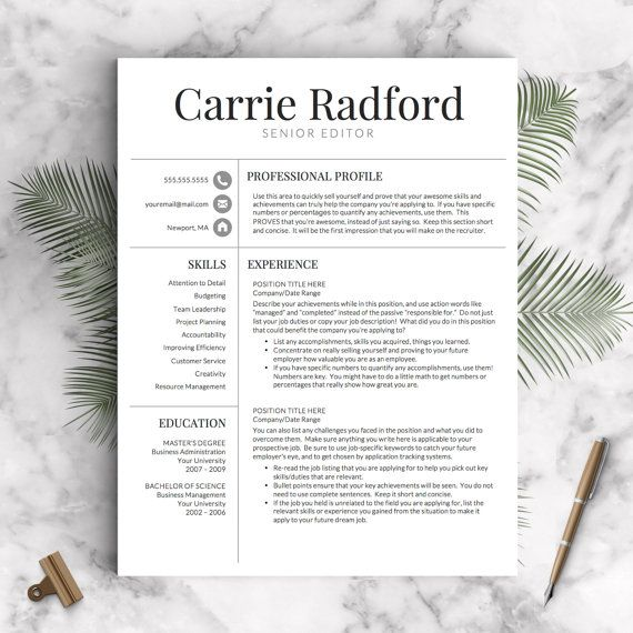 resume template professional resume template cv template for word and pages one