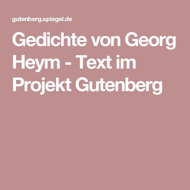 Gedichte von Georg Heym - Text im Projekt Gutenberg