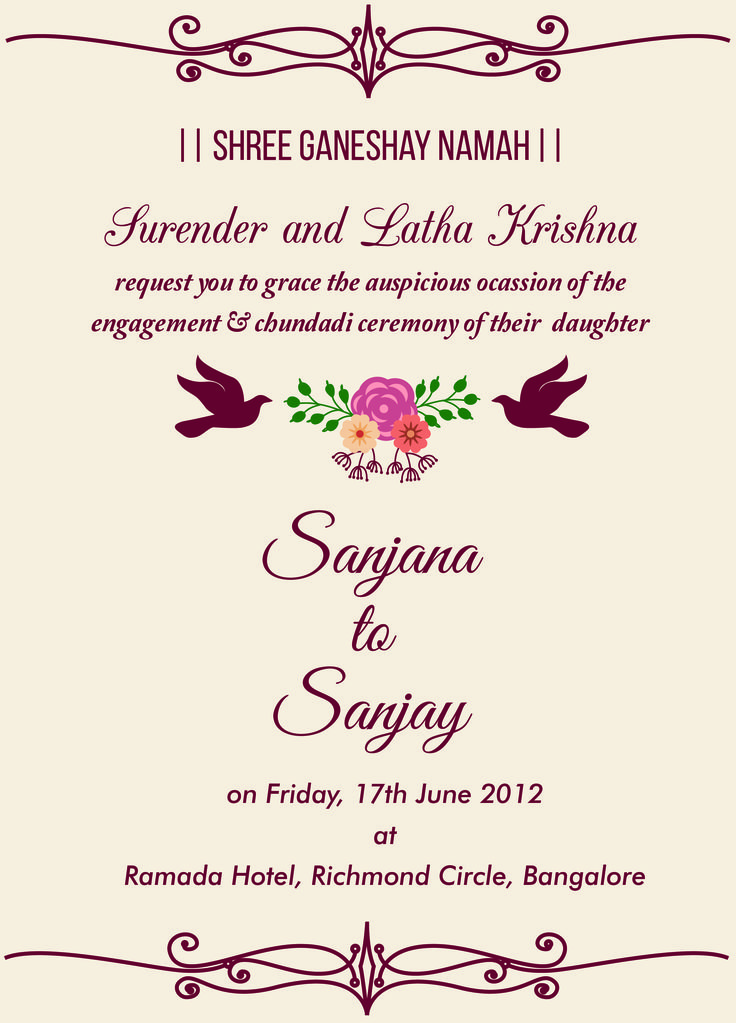 Indian engagement invitation wordings engagement for Online engagement party invitations