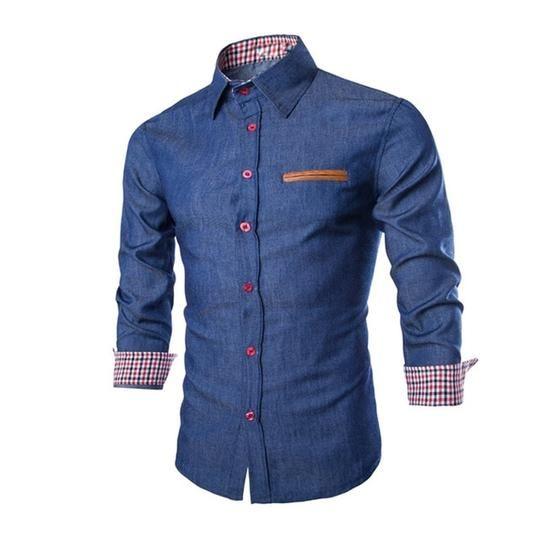 Fashion Men Denim Jeans Shirt Casual Long Sleeve Slim Fit Stylish Wash Jeans Top