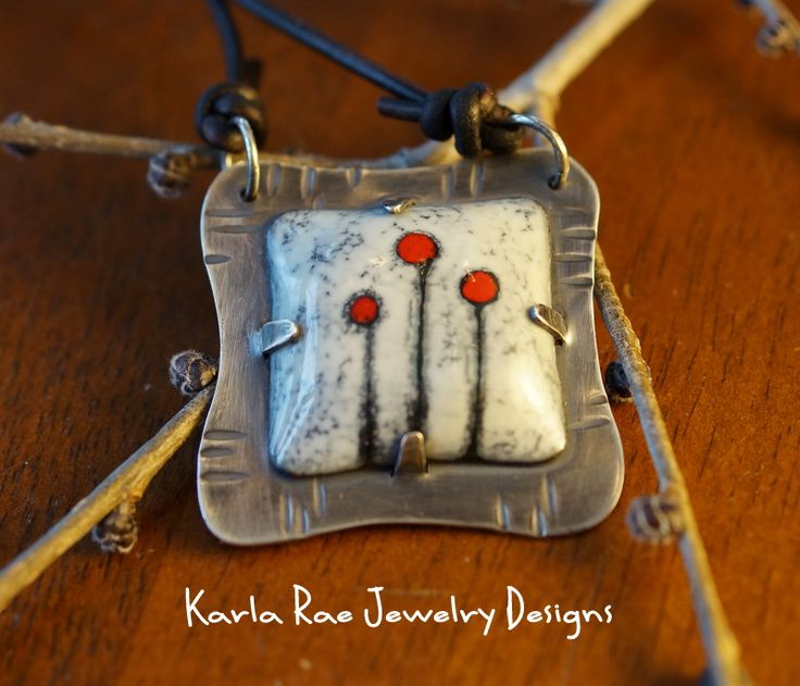 Vitreous enamel on copper, sgrafitto, set in sterling silver  Karla Rae Jewelry Designs