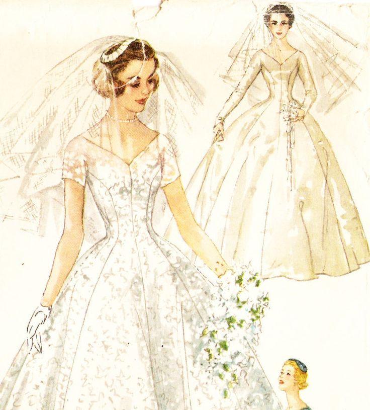 Simplicity 1461 Vintage 1950s Tea Or Floor Length Wedding Dress Headpiece And Veil Sewing Pattern