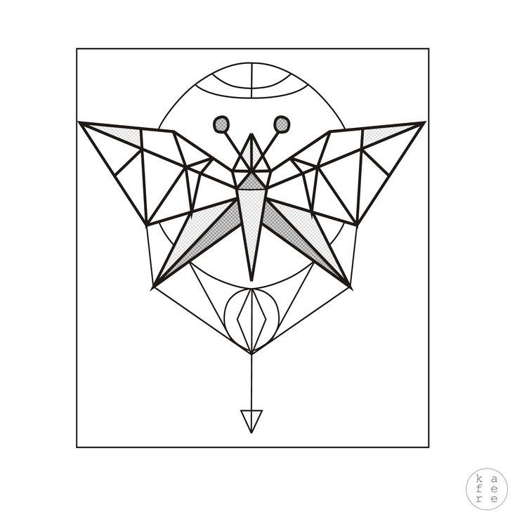 Minimalistic tattoo design / geometric butterfly illustration