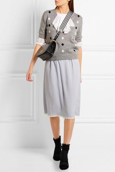 Prada - Grosgrain Bow-embellished Suede Mules - Black - IT39.5