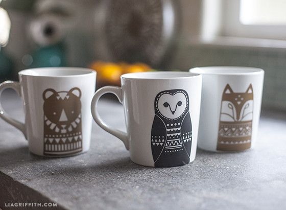 Lia Griffith Scandinavian style mugs. Really want to paint a version of these. So cute. Love the fox.