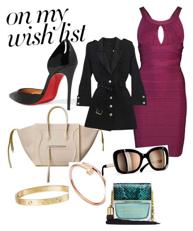 """#PolyPresents: Wish List"" by renataoczak on Polyvore featuring Christian Louboutin, CÉLINE, Hervé Léger, Cartier, Balmain, Chanel, Marc Jacobs, contestentry and polyPresents"