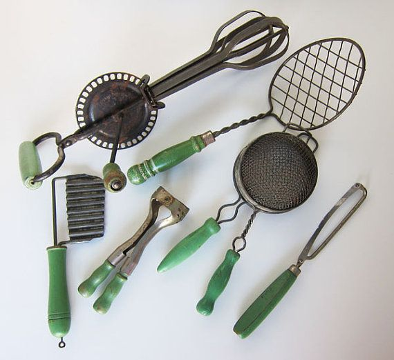 Perfect Vintage Collection Of Green Handle Kitchen Tools