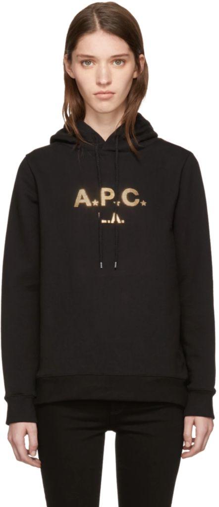 Women's Black & Gold Logo Hoodie by A.P.C
