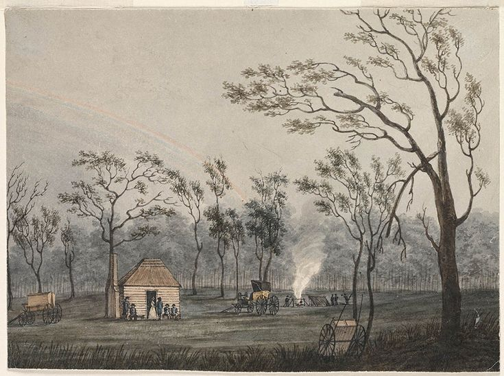1816; Appin Massacre: View of the Government Hut at Cowpastures 1804