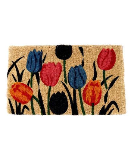 Tulip Natural Doormat | Put away the heavy blankets and fireplace accessories. These spring decorations will transition your home from winter to spring.