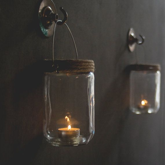 Hanging Jar Candle Holders . Set Of Two by Goodbye1979 on Etsy, £9.50