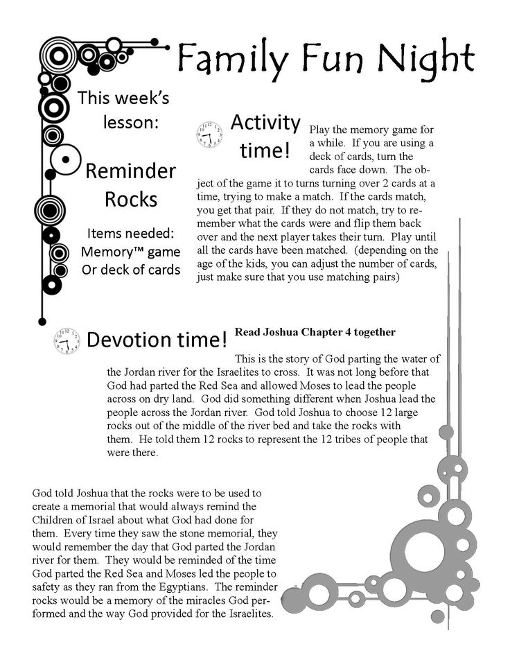 Free Family Fun Devotion Time. Printable game, lesson ...