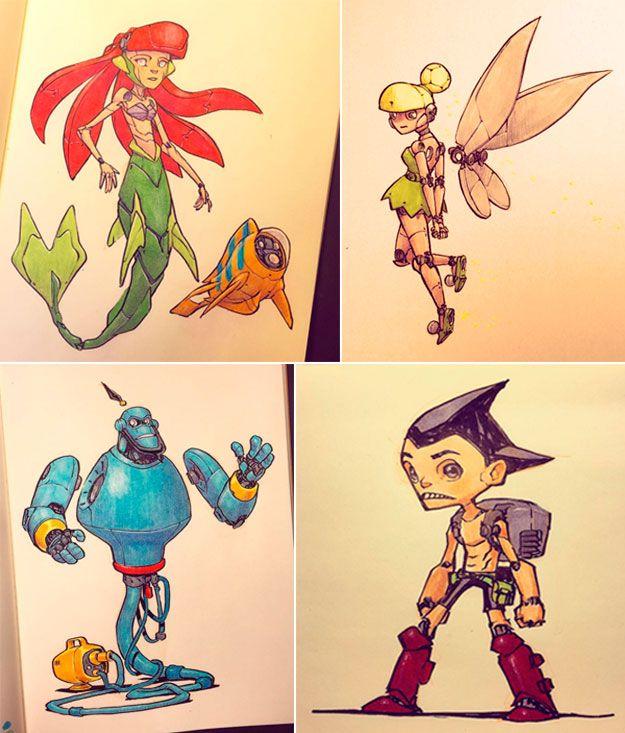 Ariel, Sininho, Gênio Aladdin, Astro Boy por Jake Parker/ Mermaid, Aladdin genius, Star Boy by Jake Parker