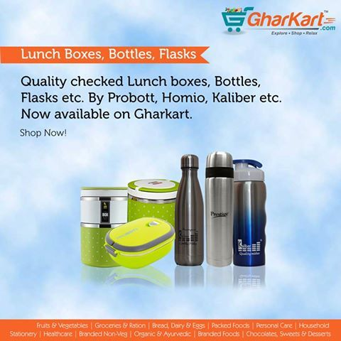 Lunch boxes, pet bottles, Flasks etc from the best brands now available on Gharkart.com  Follow this link to shop for your needs http://www.gharkart.com/category/household/home-needs/lunch-boxes.html http://www.gharkart.com/category/household/home-needs/bottles.html  #Gharkart #Groceries #Onlineshopping #tiffinboxes