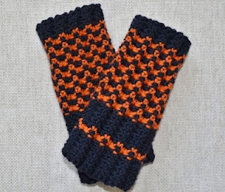 Fingerless Mitts - so quick, easy and reversible!  Shown here in navy blue and orange - Hello Broncos Fans