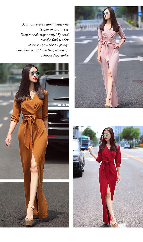 Verragee Femmes D'été Automne Longue Robe De Mode V Cou Sexy Split Bleu Mince Robe Parti Robes Longues Maxi Plus La Taille robe dans de sur AliExpress.com   Alibaba Group