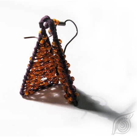 earrings Contrast; steel, rocail, cotton; nycrame; by Nady