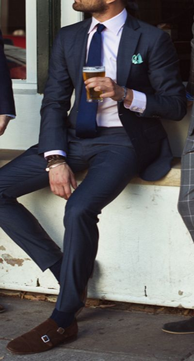 Uggh can I have? looks so good. The beer I mean lol but love the clean beard, suit, shoes etc.