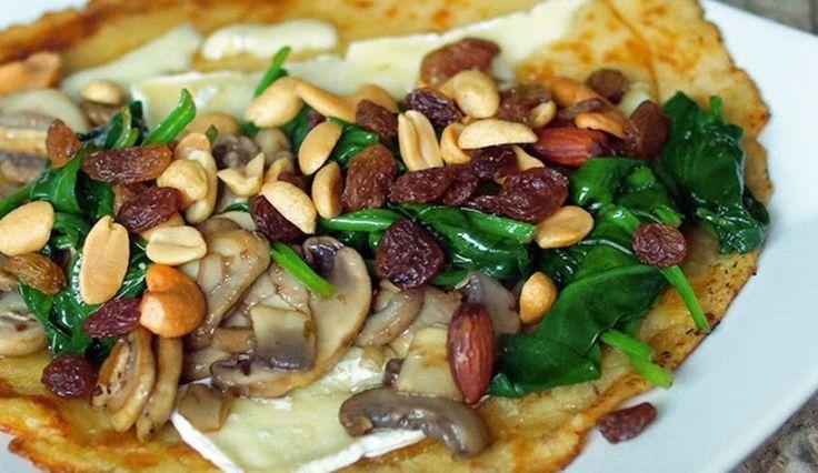 Vega: Pannenkoeken met brie, spinazie, noten, honing en champignons