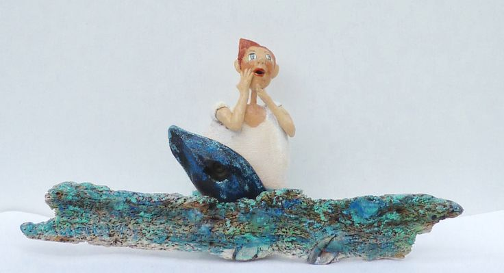 Driftwood and ceramic sculpture by dorienne