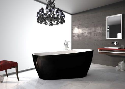 Black Freestanding Bath Tub  - Chandelier in the bathroom? Why Not! http://www.spec-net.com.au/press/0312/car_140312.htm