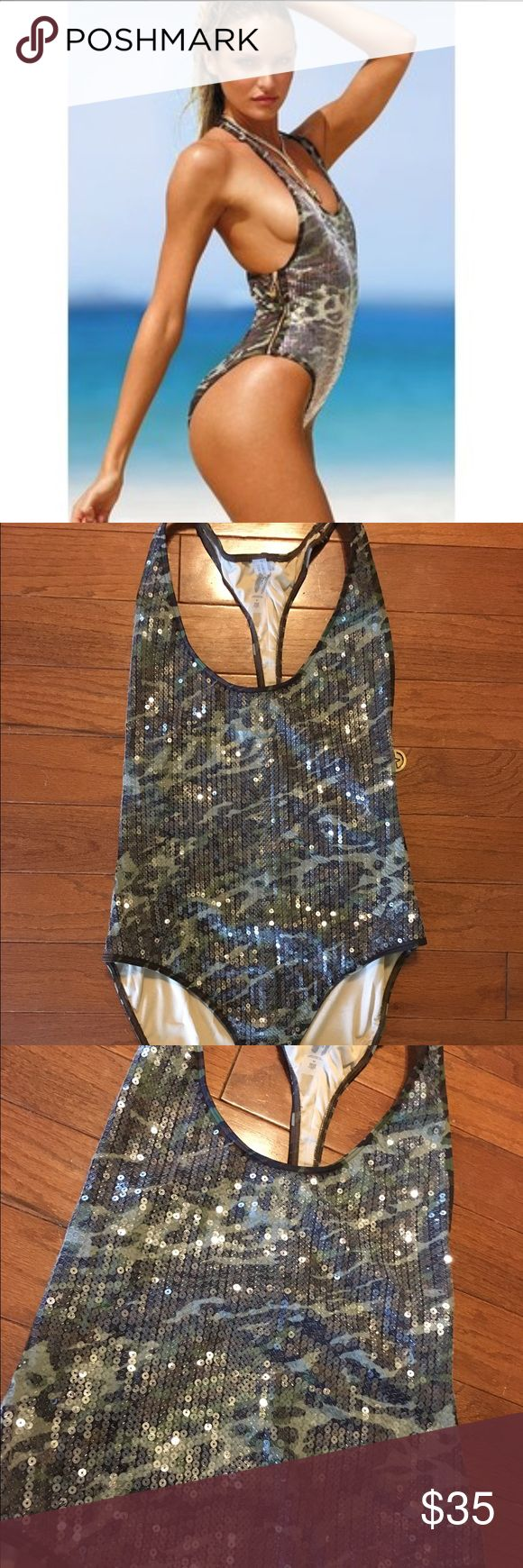 Victoria's Secret One Piece Camo Sequins Swimsuit Victoria's Secret One Piece Camo Sequins Swimsuit in excellent like-new condition. No missing Sequins. Double side zippers. Make an offer! Victoria's Secret Swim One Pieces