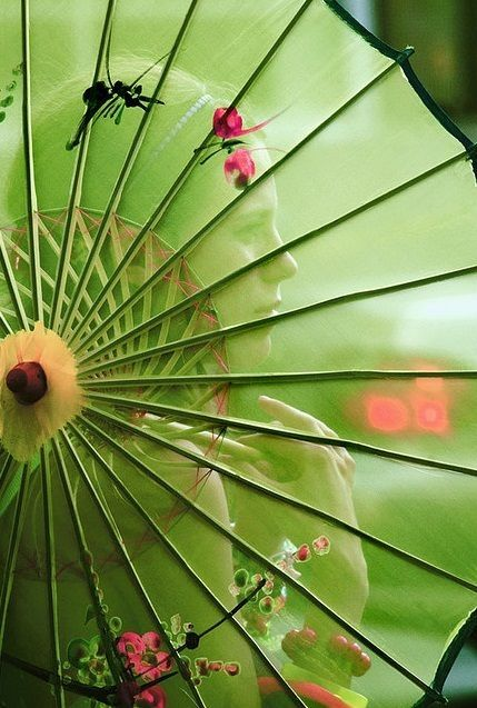 Green Parasol with Floral Design ....