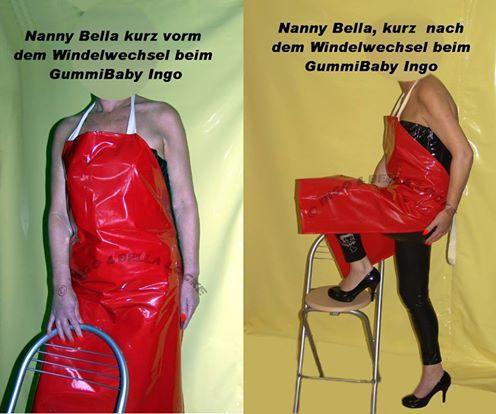 Wenn die Nanny die rote Lack Schürze trägt, dann wird der Windelwechsel und Neuverpackung sehr liebevoll, zärtlich & schmusig, mit allen was dazu gehört. Zärtliches eincremen, viel Streicheleinheiten, viel Schmuserei. Wenn die Nanny die weiße Latex Schürze trägt, dann wird der Windelwechsel und Neuverpackung sehr hart, streng und auch viel länger -anstrengender - schmerzhafter -