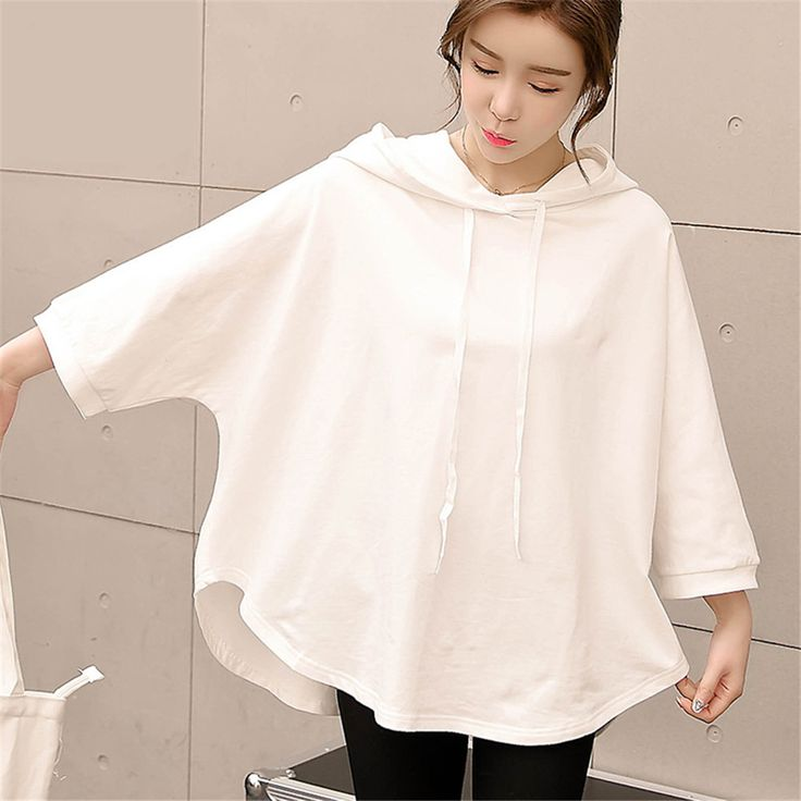 Women Summer tshirt fashion Women tops t-shirt hooded Loose Printed Batwing 3/4 sleeve t shirts plus size Blusas white clothing #Affiliate