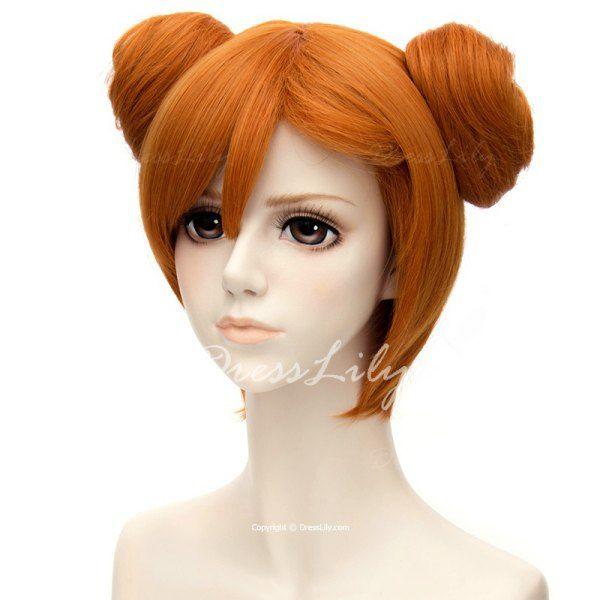 Fashion Side Bang Short Straight Orange Charming Kousaka Honoka Cosplay Wig With Double Chignons