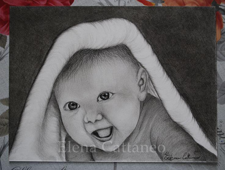Secondo di tre disegni inerenti l'infanzia.. realizzato con carboncini e pastelli. (18 x 24)