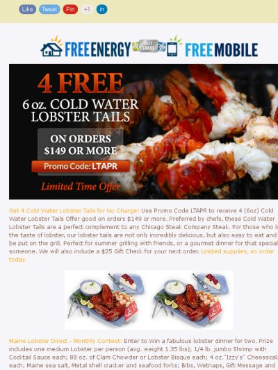 Lobsterlania With Lobster Deals Galore! Chicago Steak Company Deals Including a $25 Gift Check!