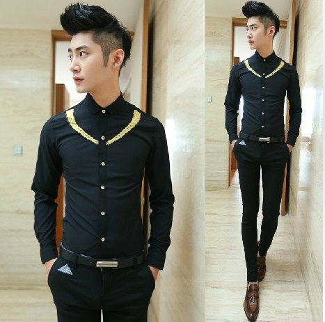 Find More Casual Shirts Information about Elegant Embroidery Monochrome  Prom Dress Shirt Fashion Men Party Wear