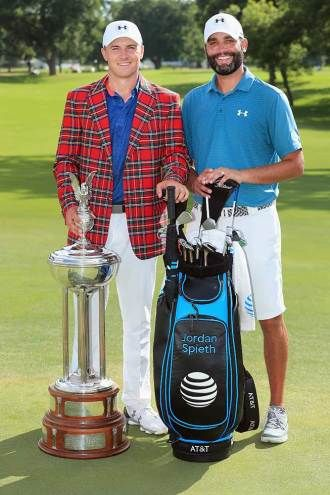 Jordan Spieth and caddie Michael Greller after win at 2016 Colonial Country Club in Ft Worth Texas,  his second win of the PGA Tour season.