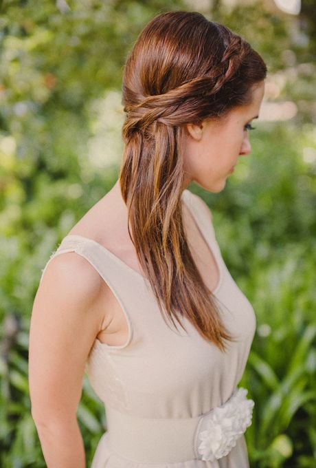 Straight, Half-Up Wedding Hair with Braid. Achieve a half-up braided style by…