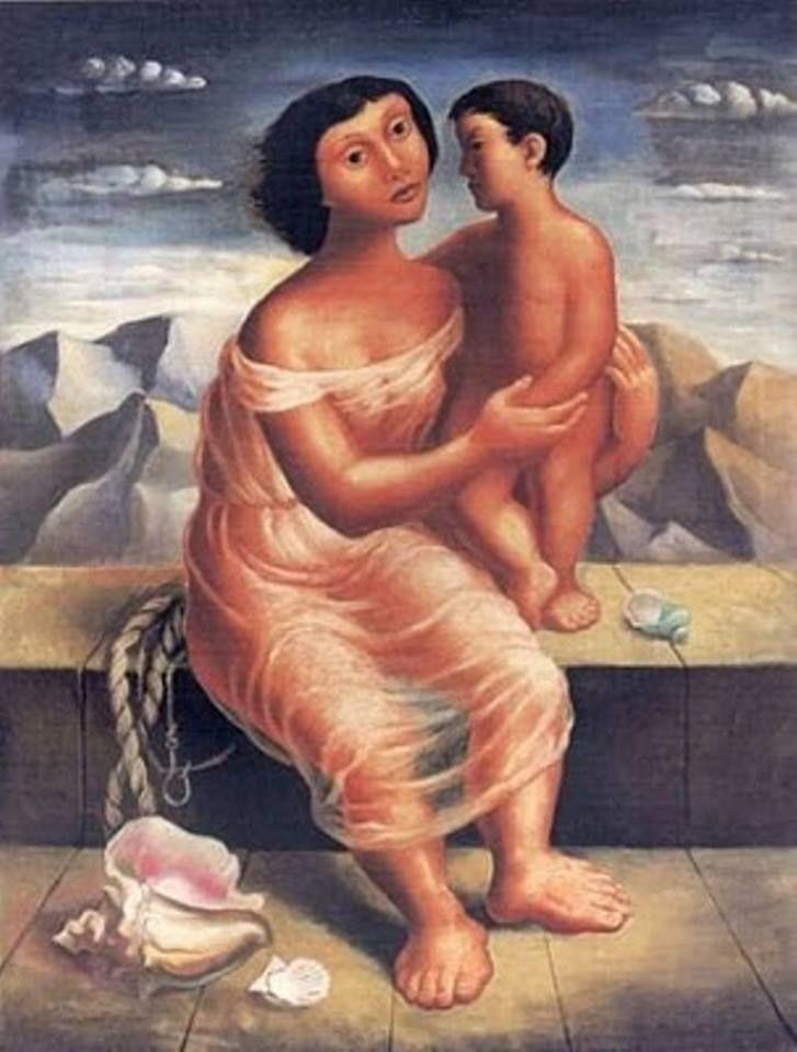 Mario Carreño. Madre e hijo. 1940. De: Pintores Chilenos Destacados.