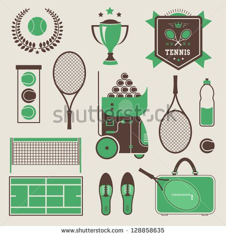 Vector illustration of various stylized tennis icons