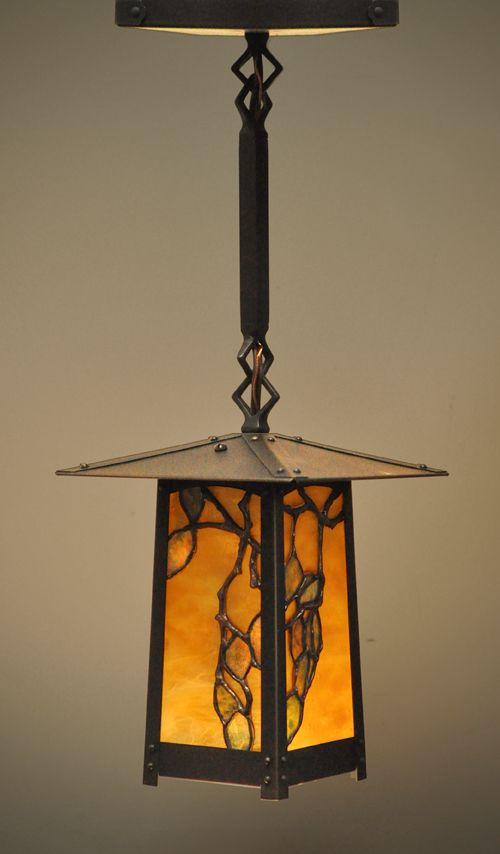 Beautiful hanging lantern with strong Asian influence and customized stained glass panel.