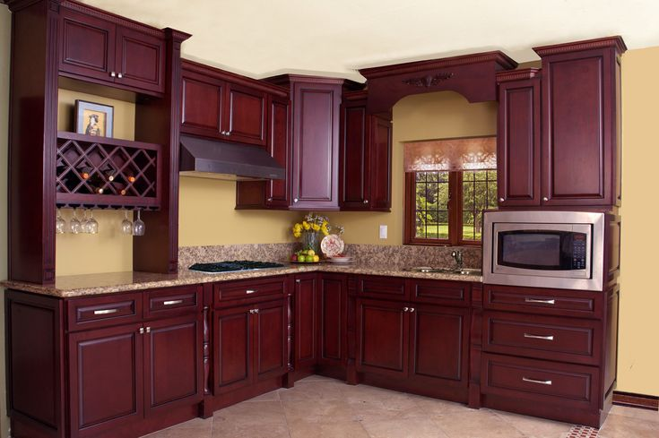 North American Maple Black Cherry Color Kitchen Cabinets