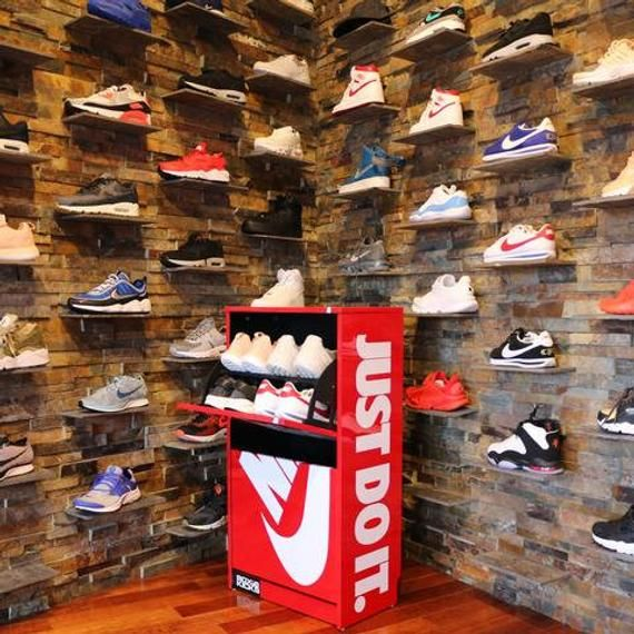 Red Nike Just Do It Shoe Storage Box Cabinet With Images Red