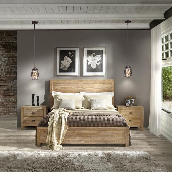 Montauk Queen Size Solid Wood Bed - Driftwood - Grain Wood Furniture - 1