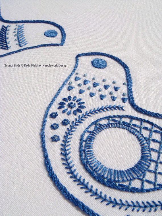 Scandi Birds Scandinavian hand embroidery by KFNeedleworkDesign